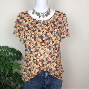 Anthropologie maple huddled daisies RARE top